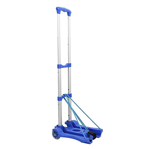 Sundale Outdoor Folding Hand Truck w/Wheels and Hooks Lightweight Utility Cart Retractable Portable Grocery Cart for Luggage, Shopping, Office Use, Heavy Duty Aluminum Frame, 80-Pound Capacity, Blue