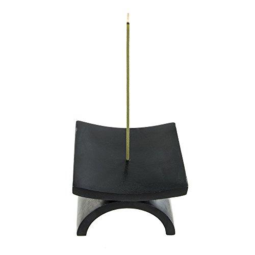 Aromandise - Soporte de Incienso, Piedra, 10x10x7cm, Color Negro
