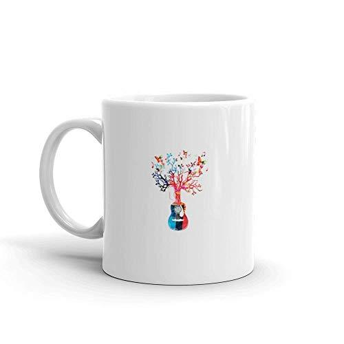 Dozili Grappige Koffiemok - Kleurrijke Muziek Achtergrond met Gitaar Boom en Vlinders Keramische Koffiemok Beker, 11 Oz, Wit