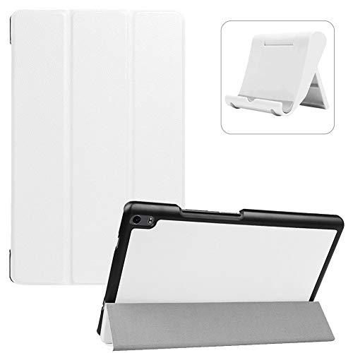 Shinyzone Kompatibel mit Lenovo Tab 4 8 Plus Tablet Hülle (TB-8704F/8704N),Ultradünn Superleicht PU Leder Dreifach Ständer Smart Cover mit Auto Wake/Sleep Funktion + Handyhalterung,Weiß