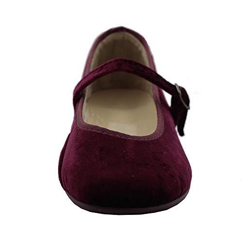 Zapatillas Kiku – Zapatillas Infantiles Priscila Terciopelo- Calzado Infantil Kiku Kids (Burdeos, 32)