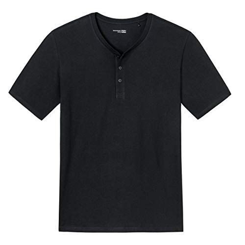 Schiesser - Mix & Relax Basic - Schlafanzug T-Shirt mit Knopfleiste - 163831 (54 Schwarz)
