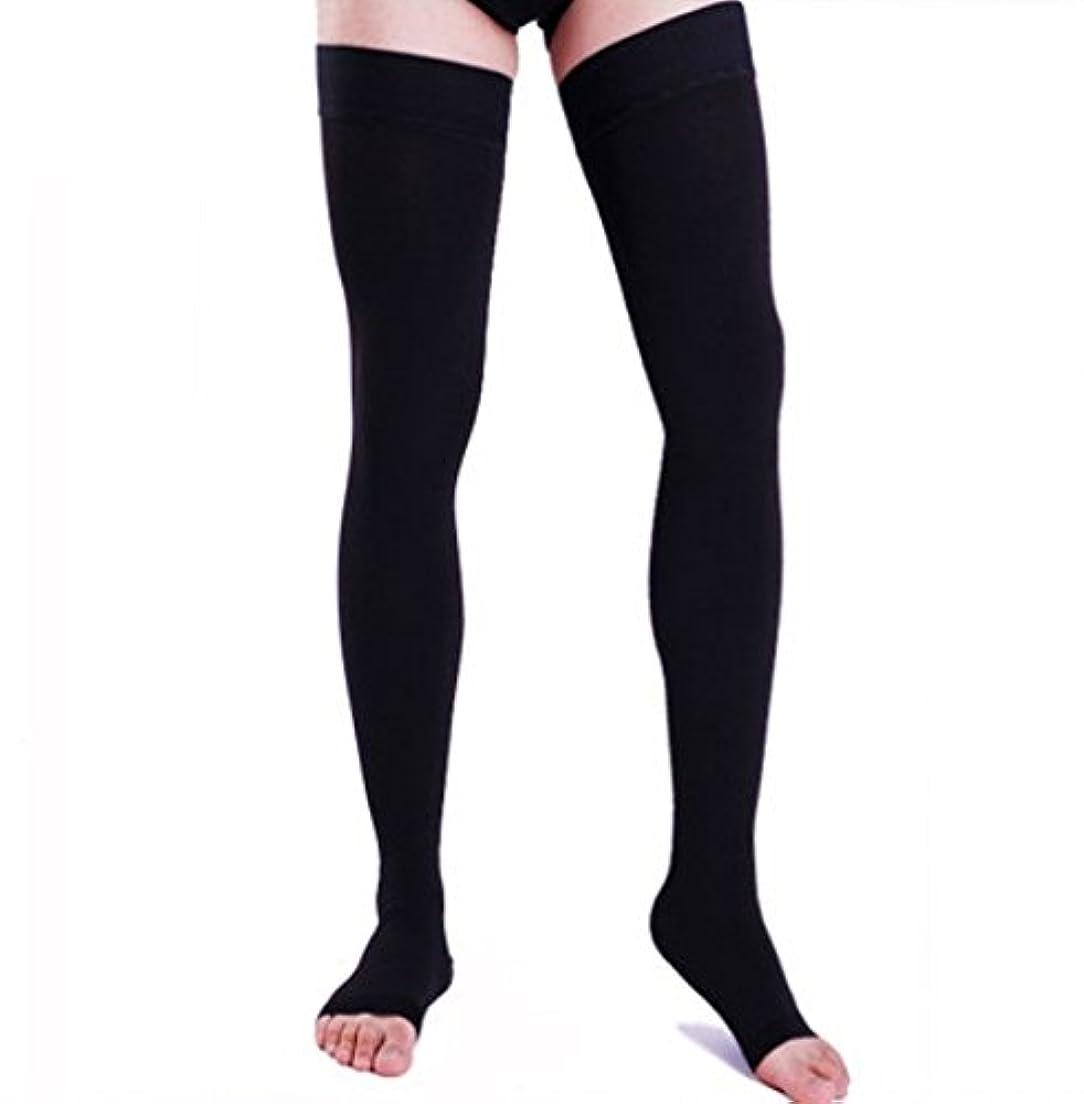 アカウント時計回り独裁【エコノミー症候群予防】男性用 着圧ソックス オープントゥ ロング (XL, ブラック)
