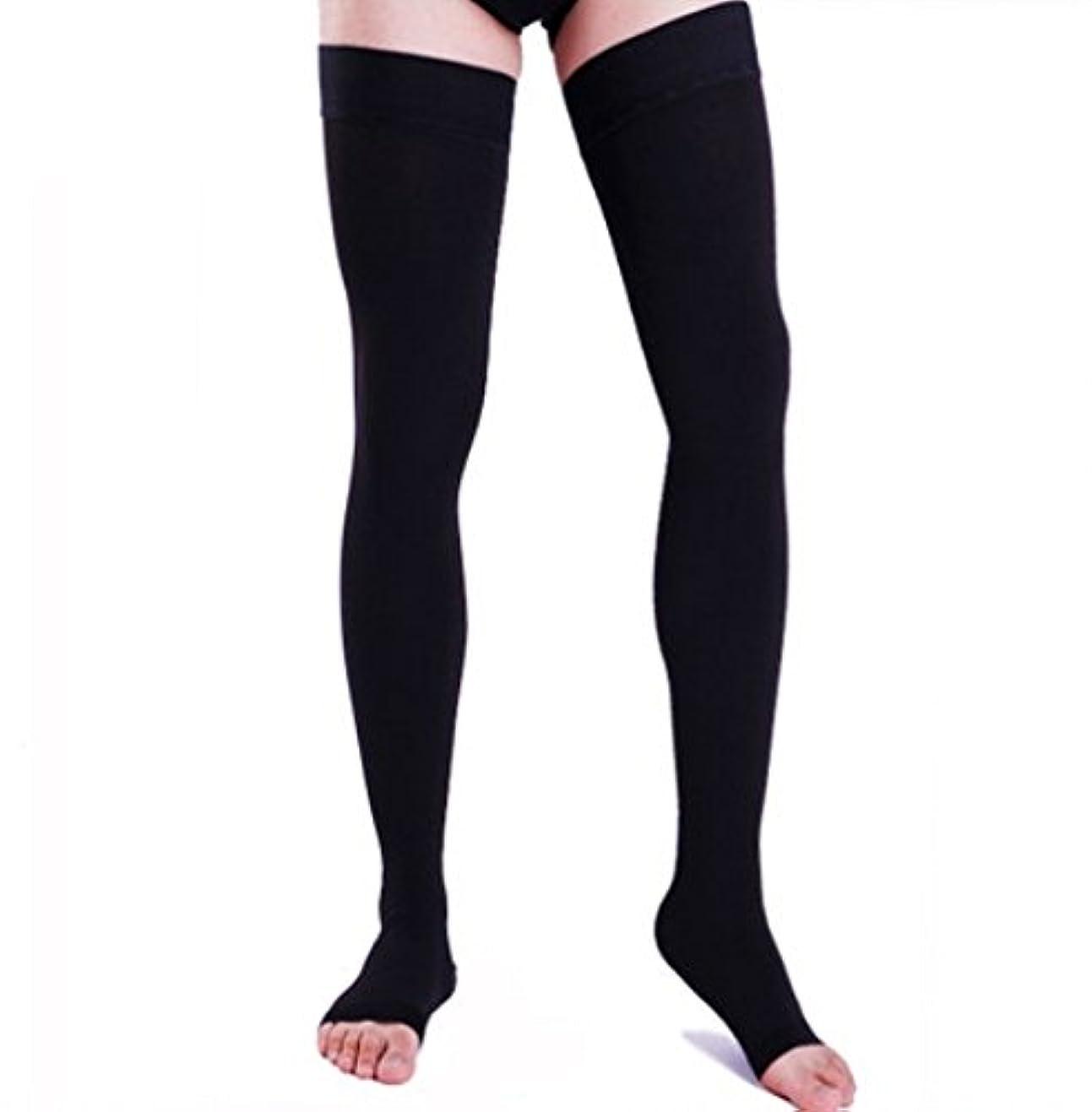 薬剤師巨大愛情深い【エコノミー症候群予防】男性用 着圧ソックス オープントゥ ロング (XL, ブラック)