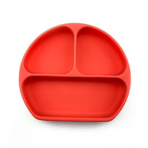 jwj Vajilla para bebés de sílice para niños y bebés de silicona con lechón de lechón para bebé, placa de cara de sonrisa, juego de vajilla para bebés, plato para niños, moño (color: rojo)