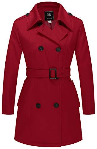 ZSHOW Gabardina para Mujer Chaqueta con Solapa de Tormenta Abrigo con Charreteras en Los Hombros con Cinturón Abrigos con Cierre de Botón Cruzado a Prueba de Viento Mujer Rojo Medium