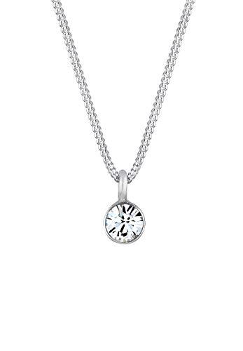 Elli Halskette Elli Damen Halskette mit Basic Solitär Anhänger Swarovski Kristalle in 925 Sterling Silber 45 cm lang