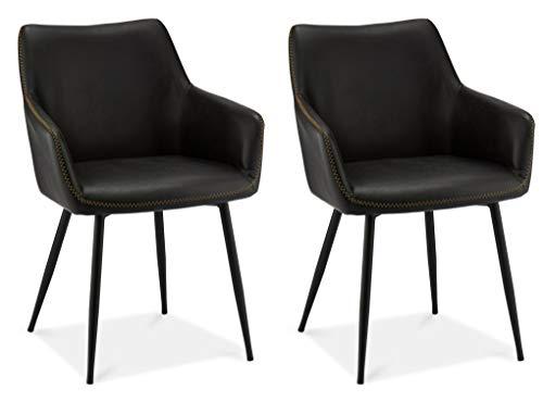Ibbe Design 2er Set Schwarz Kunstleder Esszimmerstühle Vintage Industrial Lounge Küchenstühle mit Armlehnen Anette, Schwarz Metallgestell, L56x B56x H81cm