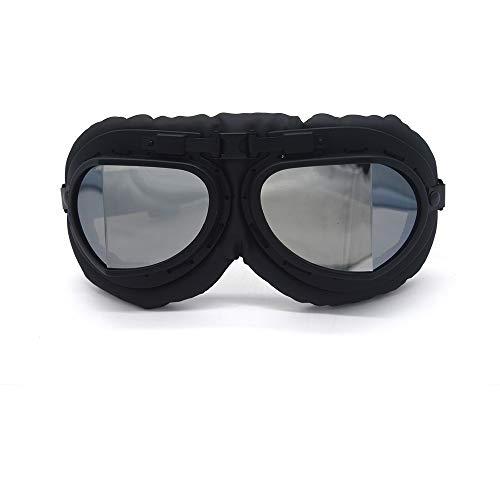 バイクゴーグル ヴィンテージモトクロスゴーグル オートバイヘルメットメガネ PCレンズUVカット保護メガネ 防砂 防塵 防風 パンクゴーグル (シルバー)