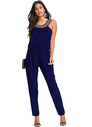 emmarcon Tuta Lunga Jumpsuit Elegante Abito Vestito Cerimonia Donna con perline-Blue-IT52-54/XXL