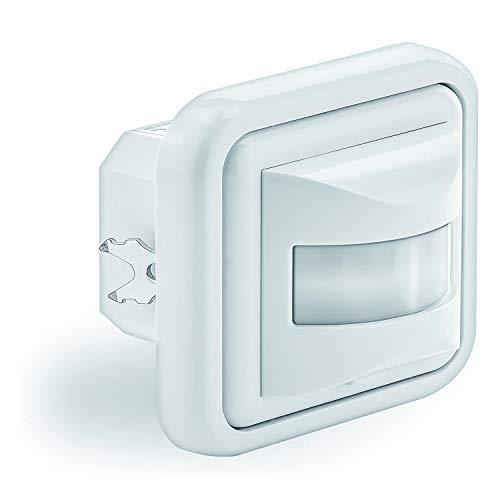 PS-TECH Detector de Movimiento para Caja de mecanismos empotrable Pared conexión a 2 y 3 Hilos, conmutador Manual ON/Off/Auto Sensor de Presencia Cobertura 180º 9 m a 1.1m. de Altura