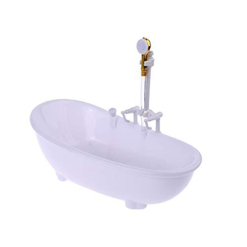 Lisanl Kinder Spielzeug 1/6 Puppenhaus Miniaturen Elektrische Badewanne Möbel Badezimmer Zubehör weiß