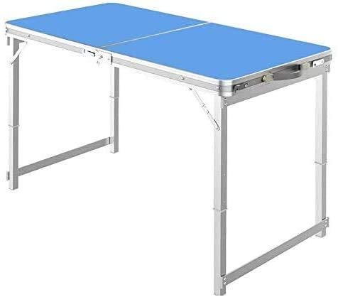 IBLUELOVER - Mesa plegable de jardín portátil de aluminio con asa de altura ajustable, mesa de trabajo plegable, mesa exterior interior para picnic, barbacoa, 120 x 60 cm