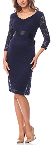 Be Mammy Damen Umstandskleid Maternity Schwangerschaftskleid BE20-170 (Marine, M)