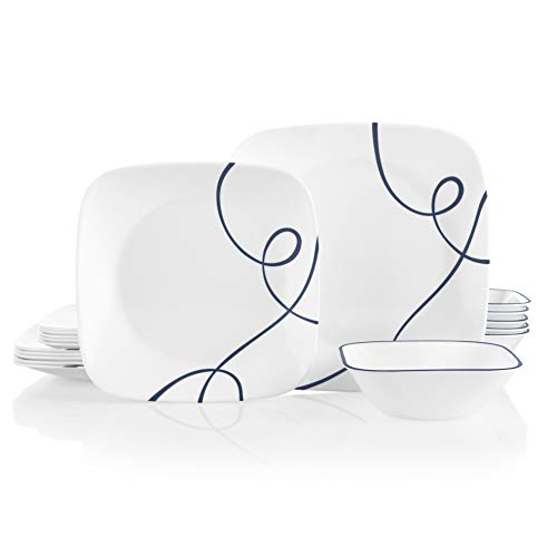 Corelle Service for 6, Chip Resistant Dinnerware Set, 18-Piece, Lia