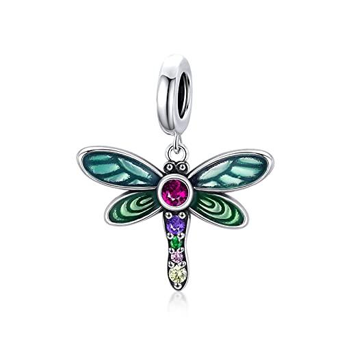 HMMJ Abalorio para Pulsera O Collar Pandora, Colgante De Plata De Ley 925 - Jardín Colorido (Planta, Flor, Primavera, Insecto) (Color : Dragonflies)