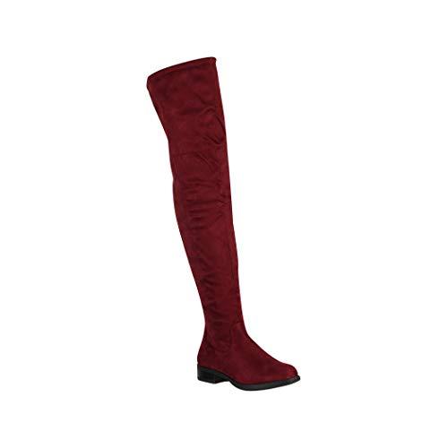 Elara Damen Stiefel Overknee Bordeaux Chunkyrayan MR-1 Burgundy-38