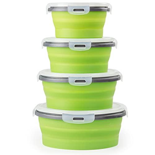 4 Pcs Recipientes de Silicona Plegable Redondo Fiambrera de Silicona Plegable de Silicona Recipientes para Alimentos Contenedores de Almacenaje de Silicona Plegable Ahorro de Espacio (Verde)