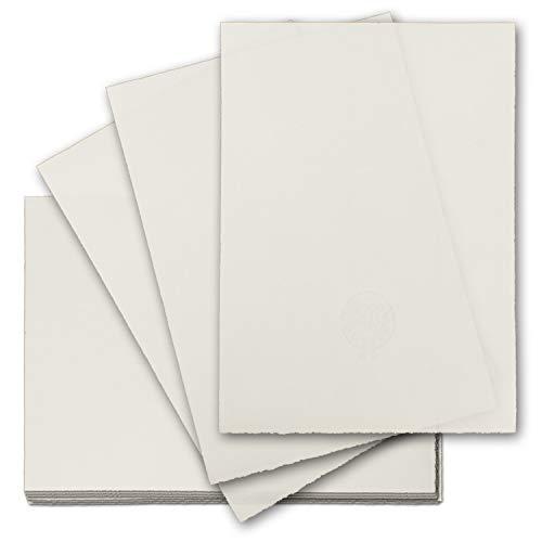 50x echtes Bütten-Papier DIN A4 Brief-Papier - mit Wasserzeichen - Vintage-Papier handgemacht, 210 x 297 mm, Naturweiß - von Zerkall Bütten