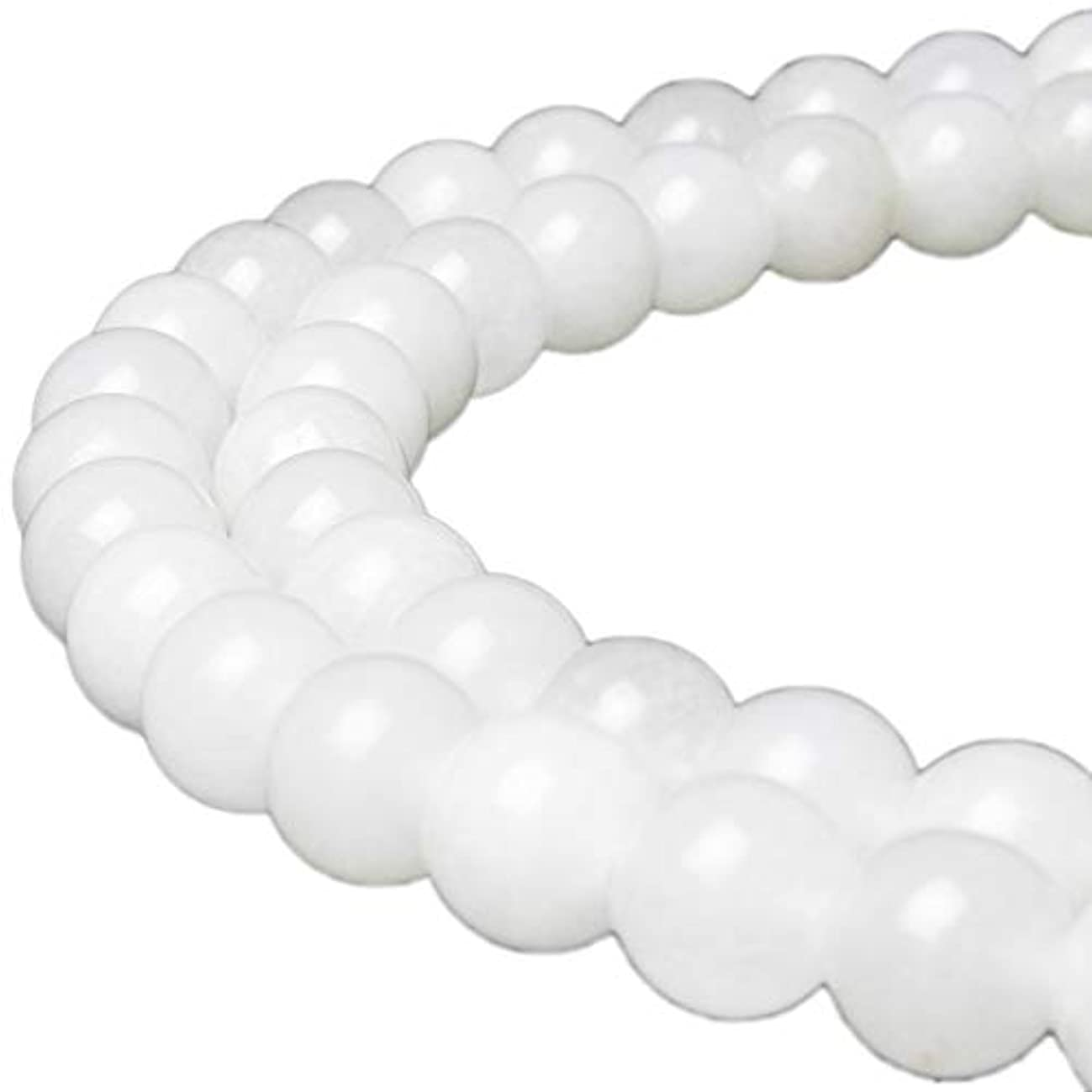 JARTC Natural White Jade Gemstone Loose Beads Round 10mm Energy Stone Healing Power for Jewelry Making