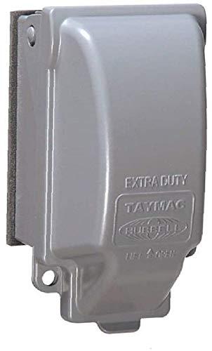 TayMac MX3200 Single Gang Vertical Metal Weatherproof Receptacle Cover, Gray Finish - 2 Pack