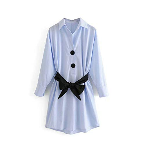 SYDGJLYQ Frauen Casual Elegantes Hemd mit Gürtel Langarm Damen Tuniken Damen 2019 Mini Shirt Kleider Herbst