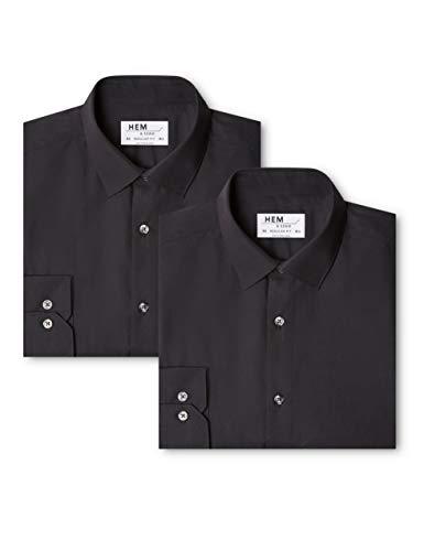 Marchio Amazon - find. Camicia a Quadri Regular Fit Uomo, Pacco da 2, Schwarz (Black / Black), 41 cm, Label: L