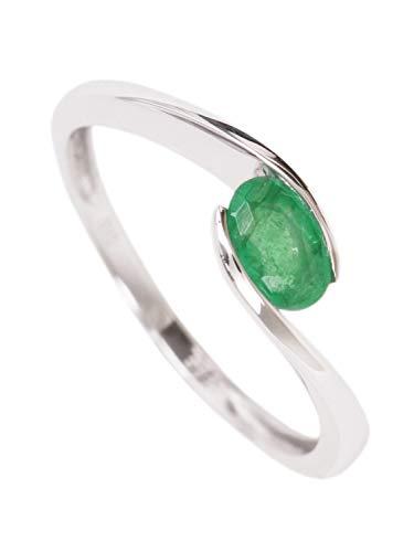 MyGold Smaragd Ring Weißgold Weissgold 585 Gold (14 Karat) Geschwungen Mit Edelstein 7mm Gr.52 Weißgoldring Goldring Damenring Smaragdring White Stardust V0011591