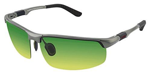 LZXC Herren Tag-Nachtsichtbrillen Polarisierte Sonnenbrille Sportbrillen Fahren im Freien Federscharnier Unzerbrechlich AL-MG Rahmen - Grau Rahmen Tag-Nachtsicht Linse