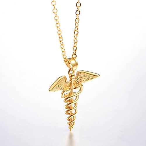 N/A Collar Colgante de Regalo de joyería Collares con Colgantes de Animales con símbolo médico de alas de Serpiente Dobles para Hombres/Mujeres, joyería para el día de la Enfermera, Regalos