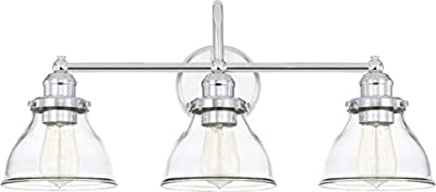 Capital Lighting 8303CH-461 Baxter 3 Light Industrial Bath Vanity Approved for Damp Locations, Chrome Finish with Clear Glass