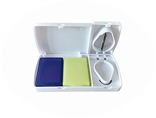 Zagon Pastillero de bolsillo con cortador de pastillas - Dos compartimentos para medicacion - Cortador de pastillas - Organizador medicamentos - Dosificador de bolsillo