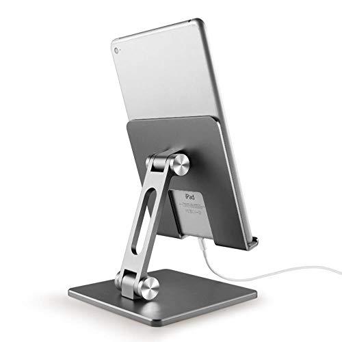 Mazu Homee Tablet Bracket Aluminum Alloy Folding Tablet Bracket Adjustable iPad Computer Lounie Desktop Bracket, Ergonomic Highly Angle Adjustable Laptop Support