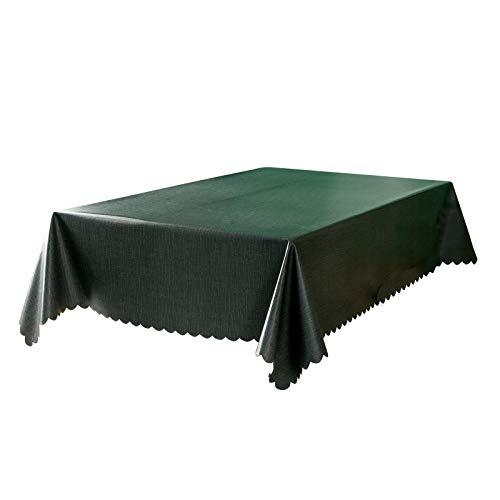 rismart Tovaglia Impermeabile Rettangolare PVC per Sala da Pranzo Cucina Compleanno Festa 140_x_300_cm Verde Scuro