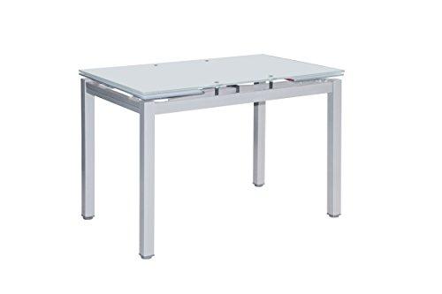 Mesa de Cocina Extensible Perl - Medidas 100/140 x 60 x 76 cm. (Gris-Blanco)