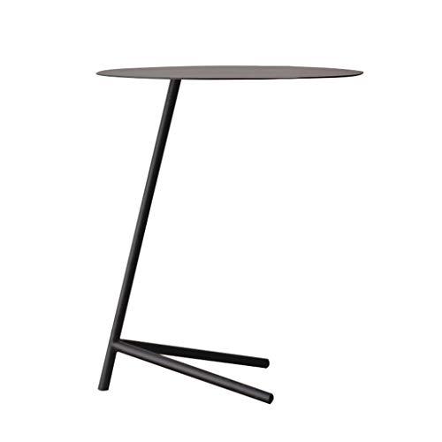 Tavolino da caffè Rotondo in Ferro battuto Semplice Soggiorno Camera da Letto Balcone mobili Bianco e Nero Opzionale (Colore : Nero)