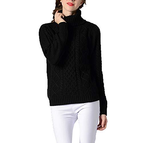 TINERS Womens coltrui lange mouwen gebreide trui dikke warme trui voor herfst en winter, Zwart, XL