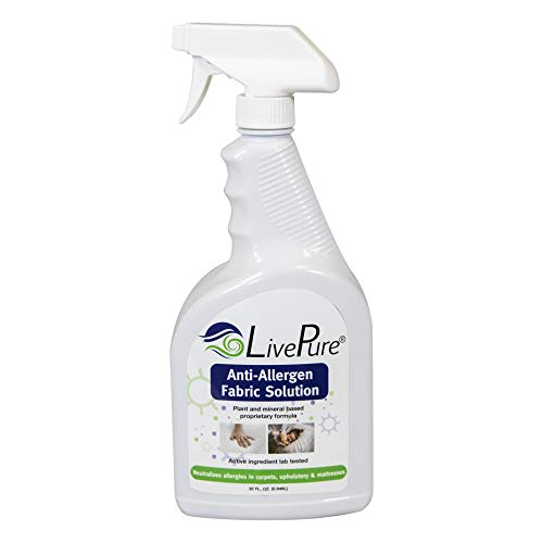 LivePure LP-SPR-32 Anti-Allergen 32 OZ Fabric Spray for Household Surfaces, Upholstery, Allergies from Dust Mites and Pet Dander, White