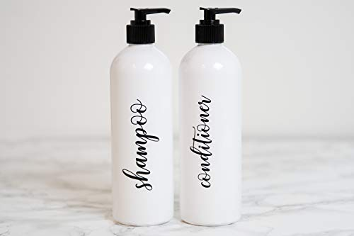 Heartland Lettering Refillable Shampoo and Conditioner Bottles with Pump, Shower Dispenser, Organization and Storage, 16 oz Bottles with Pumps, Empty Shampoo Bottles with Pump, Plastic Shower Bottles