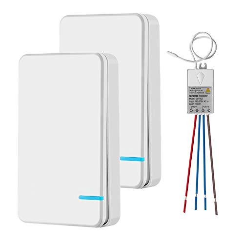Mini interrupteur sans fil avec récepteur et affichage LED - Pour extérieur 400 m et intérieur 40 m - Mise en marche / arrêt rapide - Sans installation de câble - RF 433 MHz