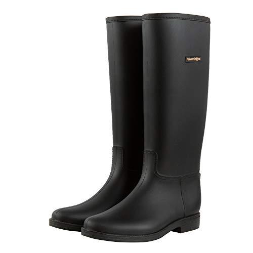 planone Botas de lluvia altas para mujer y zapatos de jardín impermeables, botas de lluvia negras antideslizantes para mujeres con plantillas cómodas, zapatos de lluvia ligeros y...