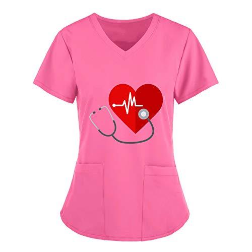 Damen V-Ausschnitt Schlupfhemd Mit Motiv, Kasack für Pflege Bluse, Kurzarm T-Shirt Mit Taschen Berufskleidung für Labors, Hotels, Zahnkliniken, Tierkliniken