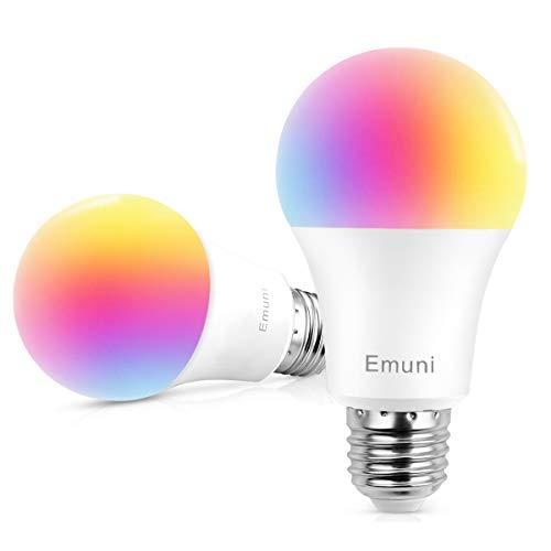 Emuni Bombilla LED Inteligente WIFI, 9W E27 16 Millones de luces colores y Blanca 2700K, Iluminación de Modos regulables, no hub requerido, APP