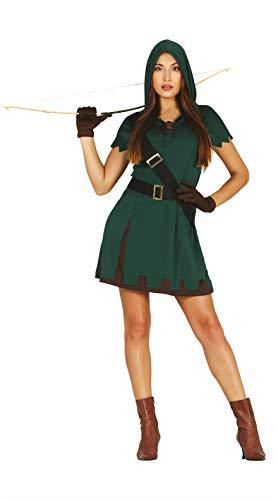 Fiestas Guirca Der Grüne Bogenschütze Kostüm Damen - Größe L 42 – 44 - Mysteriöse Diebin Damen Kostüm - Pfeil u. Bogen Märchen Kostüm Mittelaltermarkt, Karneval, Fasching, Fastnacht, Paar Verkleidung