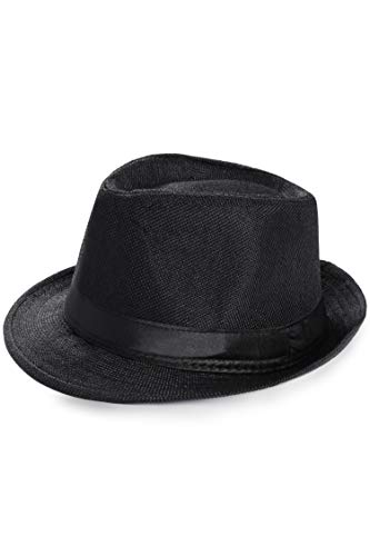 BABEYOND 1920s Panama Fedora Hat Cap for Men Gatsby Hat for Men 1920s Mens Gatsby Costume Accessories (Black, Polyester)