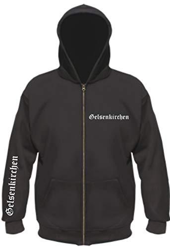 sostex Gelsenkirchen Kapuzenjacke - altdeutsch Bedruckt - Sweatjacke Jacke Hoodie XL Schwarz