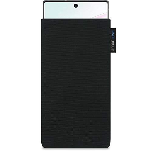 Adore June Classic Schwarz Tasche kompatibel mit Samsung Galaxy Note 10 Plus/Pro Handytasche aus beständigem Cordura Stoff mit Bildschirm Reinigungs-Effekt, Made in Europe