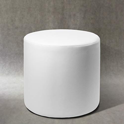 Pouf POUFF Puff PUF Tondo Arredamento Eco-Pelle POGGIAPIEDI Design Made in Italy (Bianco)