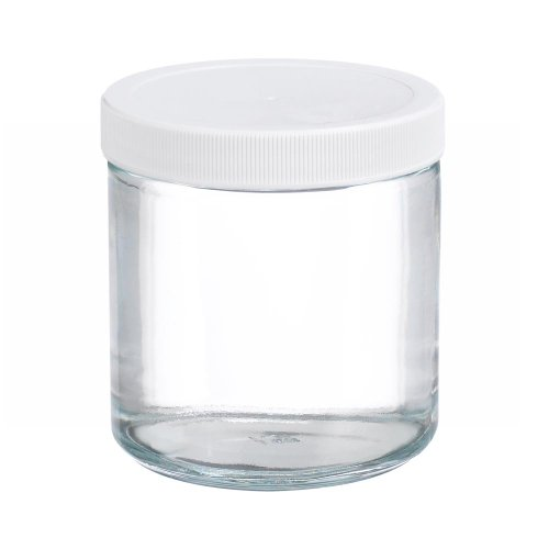 Wheaton W216906 Clear Glass 16oz Straight Sided Jar, with 89-400 White Polypropylene Poly-Vinyl Lined Screw Cap (Case of 12)