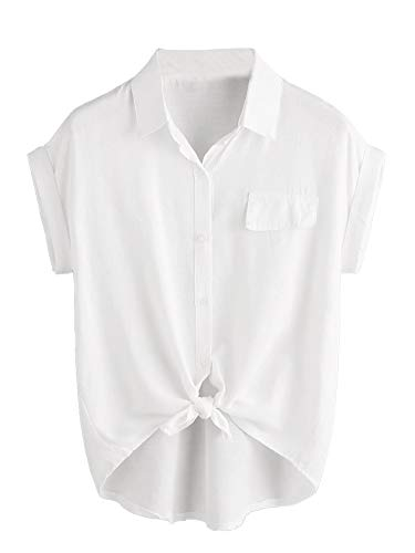 Milumia Women Casual V Neck Collar Knot Hem Button Down Rolled Cuff Short Sleeve Work Blouses Shirt Tops A White Large